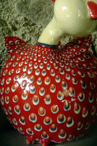 Détail décoration d'une poule